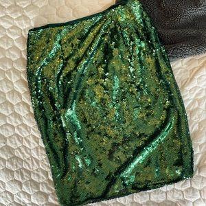 Shein Green Sequin Pencil Skirt